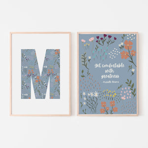 """Get Comfortable With Greatness"" Michelle Obama Quote with Large Letter Floral Print (Set of 2)"
