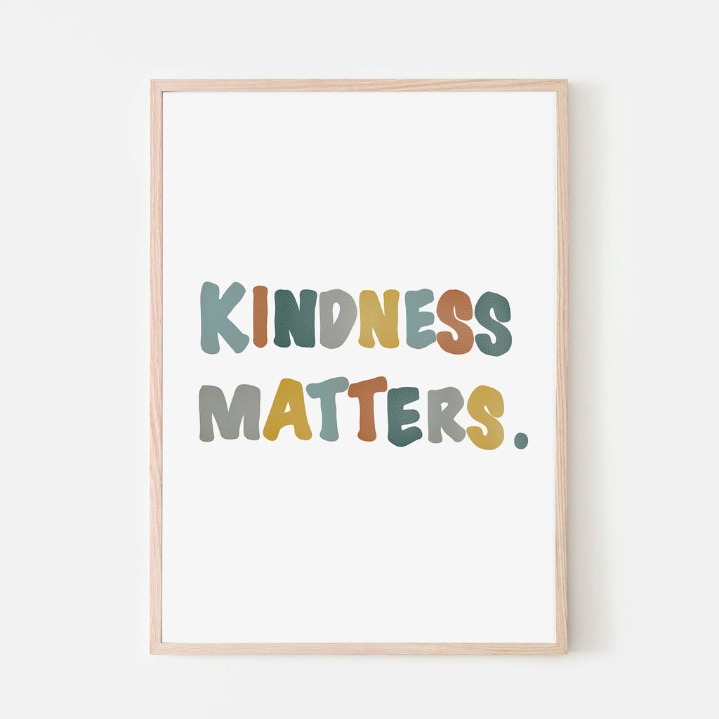 Kindness matters poster art print for kids bedroom and kids playroom.  retro color palette with blush pink, mustard yellow, grey and blue.  Canvas textured letters.  Boho nursery wall decor. Boho kids playroom.