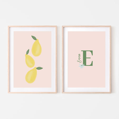 Personalized Leafy Lemons Art Prints