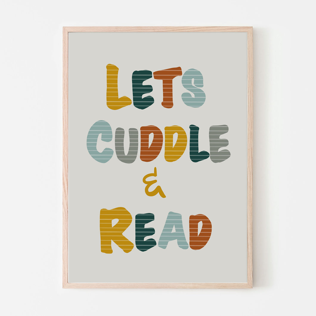 Lets Cuddle and Read Art Print | Retro Boys