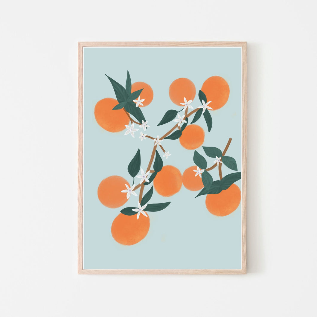 Orange Blooms Art Print | Retro Blue