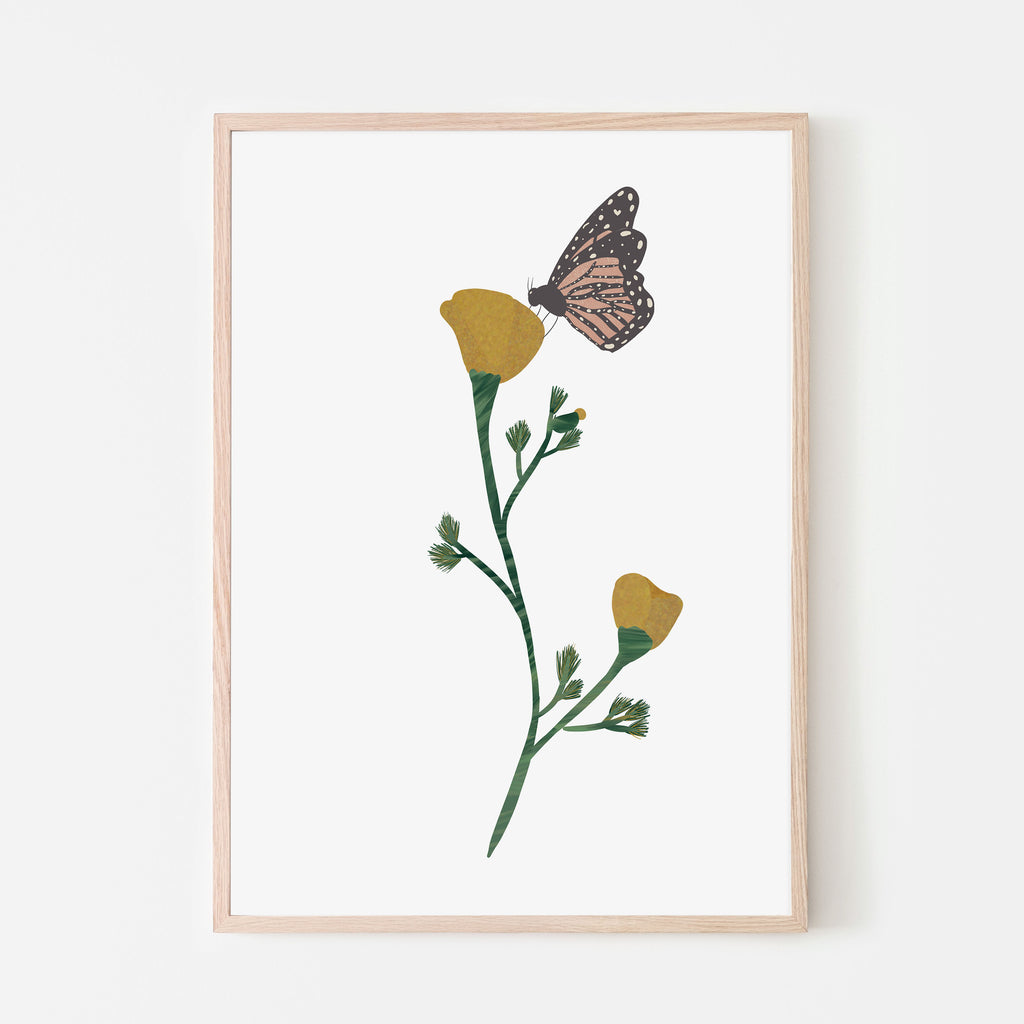 orange California poppy flower with monarch butterfly art print. Forest adventures collection print.  Girl nursery art print. girl bedroom wall decor. Flower wall art. Butterfly wall art. hand illustrated art print