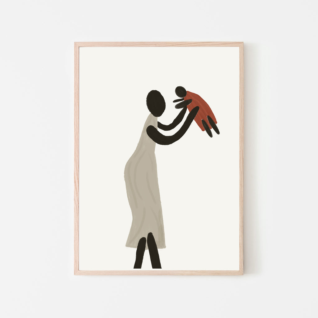 black mother and child abstract art print. abstract black mother and daughter figure. wall art. wall decor. abstract wall art.