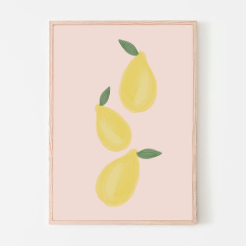 Leafy Whole Lemons Art Print