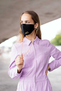 SPECIAL OFFER: Black Face Mask + Light Hypoallergenic Mask holder/chain COMBO -  (Silver or Gold tone)