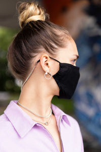 SPECIAL OFFER: PINK Face Mask + Light Hypoallergenic Mask holder/chain COMBO - (Silver or Gold tone)