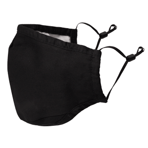Black Washable Face Mask  w/ Filter Pocket - Adjustable Ear loops/Nose Wire