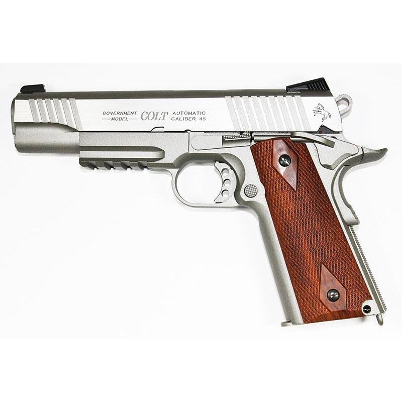 Cybergun Licensed Colt 1911 Railed Gun Stainless GBB Pistol CO2