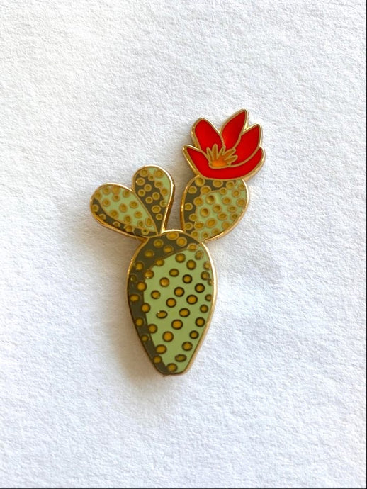 Cactus Flower Lapel Pin Badge