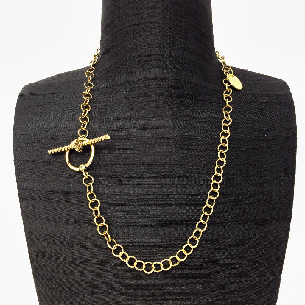 Wispy Toggle Necklace (Antique Gold)