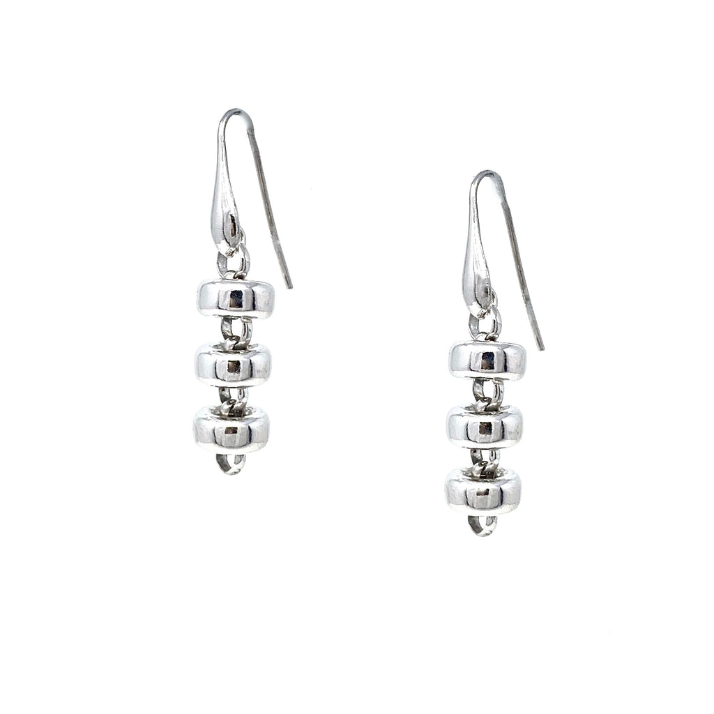 Earrings Ciambelle 10mm x3 Rhodium
