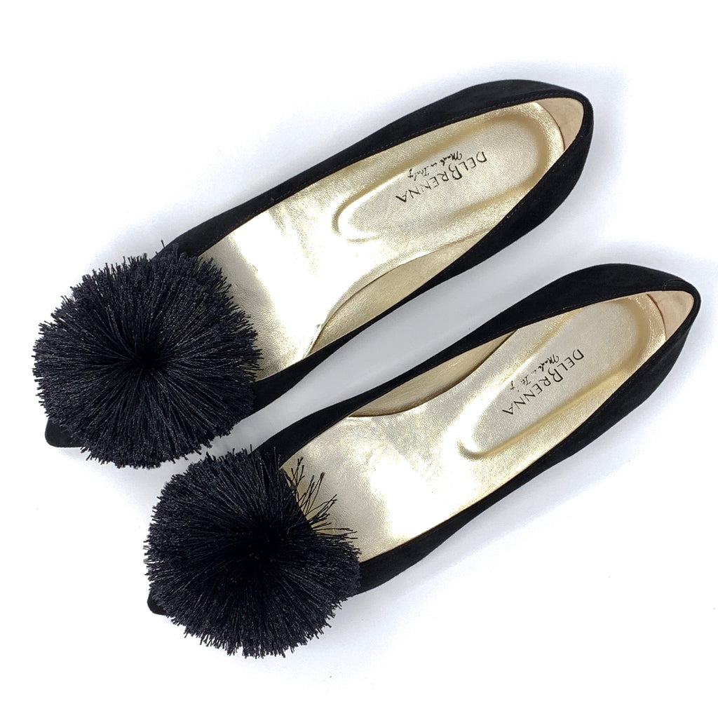 Pointed Toe Pompom Flats (Black Suede )