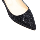 Pointed Toe Glitter Pumps (Black)