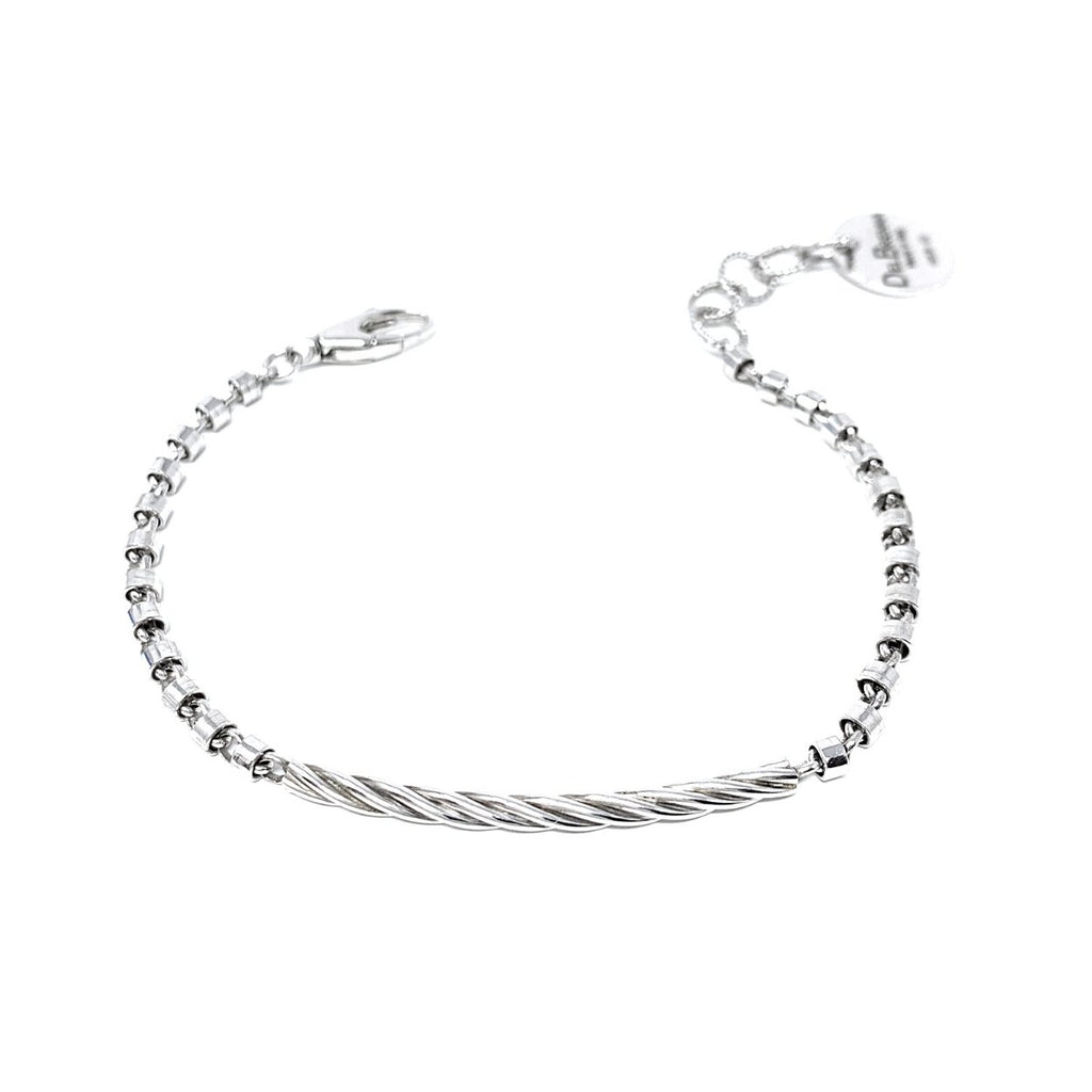Mini Bucatini Torsion Bracelet (Rhodium)