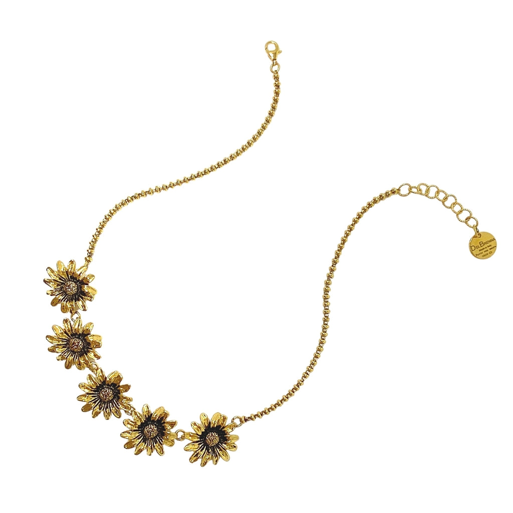 Necklace Mezzaluna Daisy Antique Gold