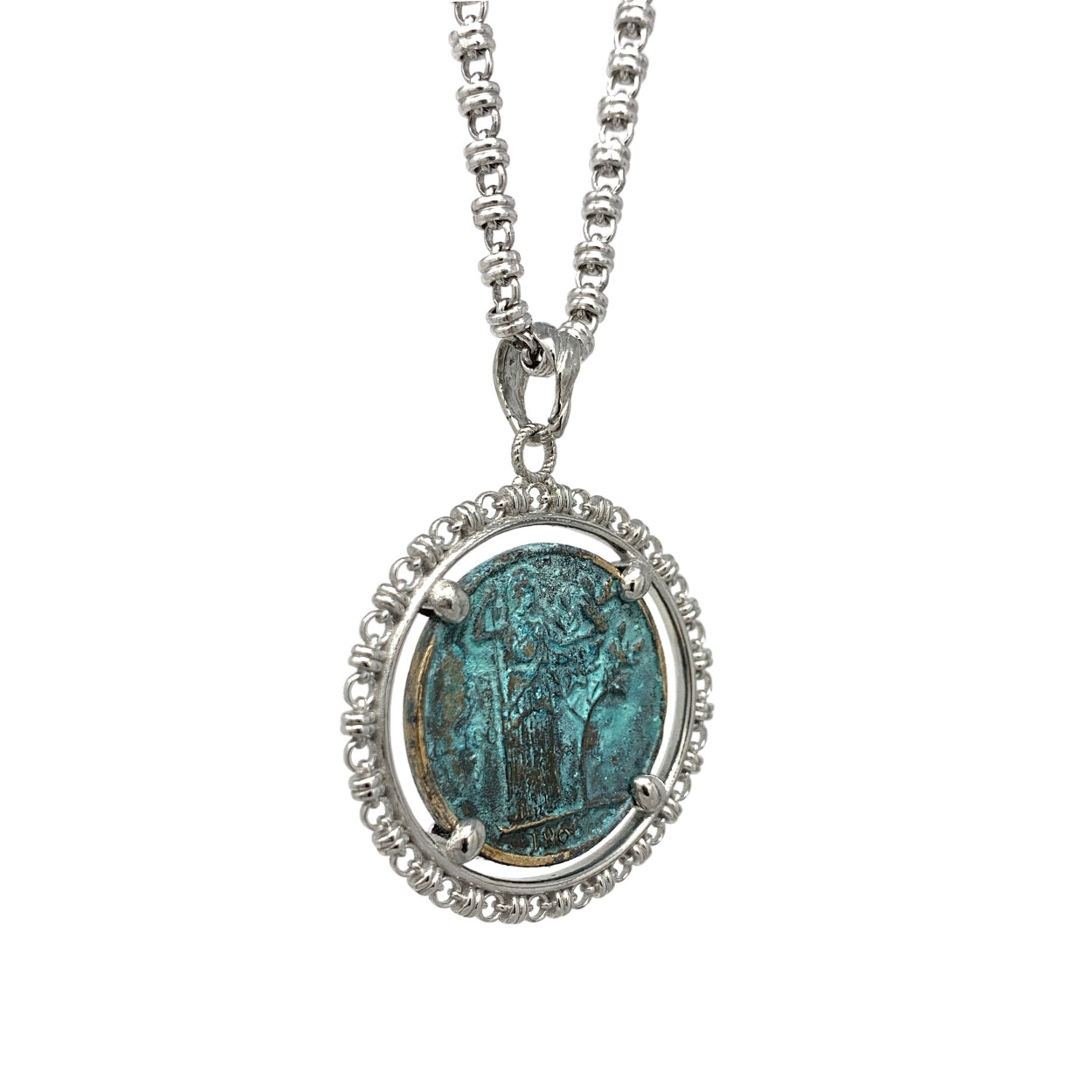 Large Filary 100 Lire Patina Green (Rhodium)