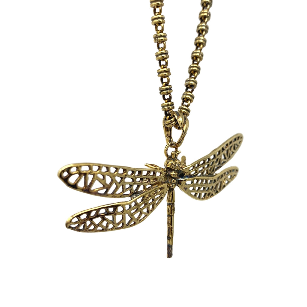 Spread Your Wings Dragonfly Pendant (Antique Gold)