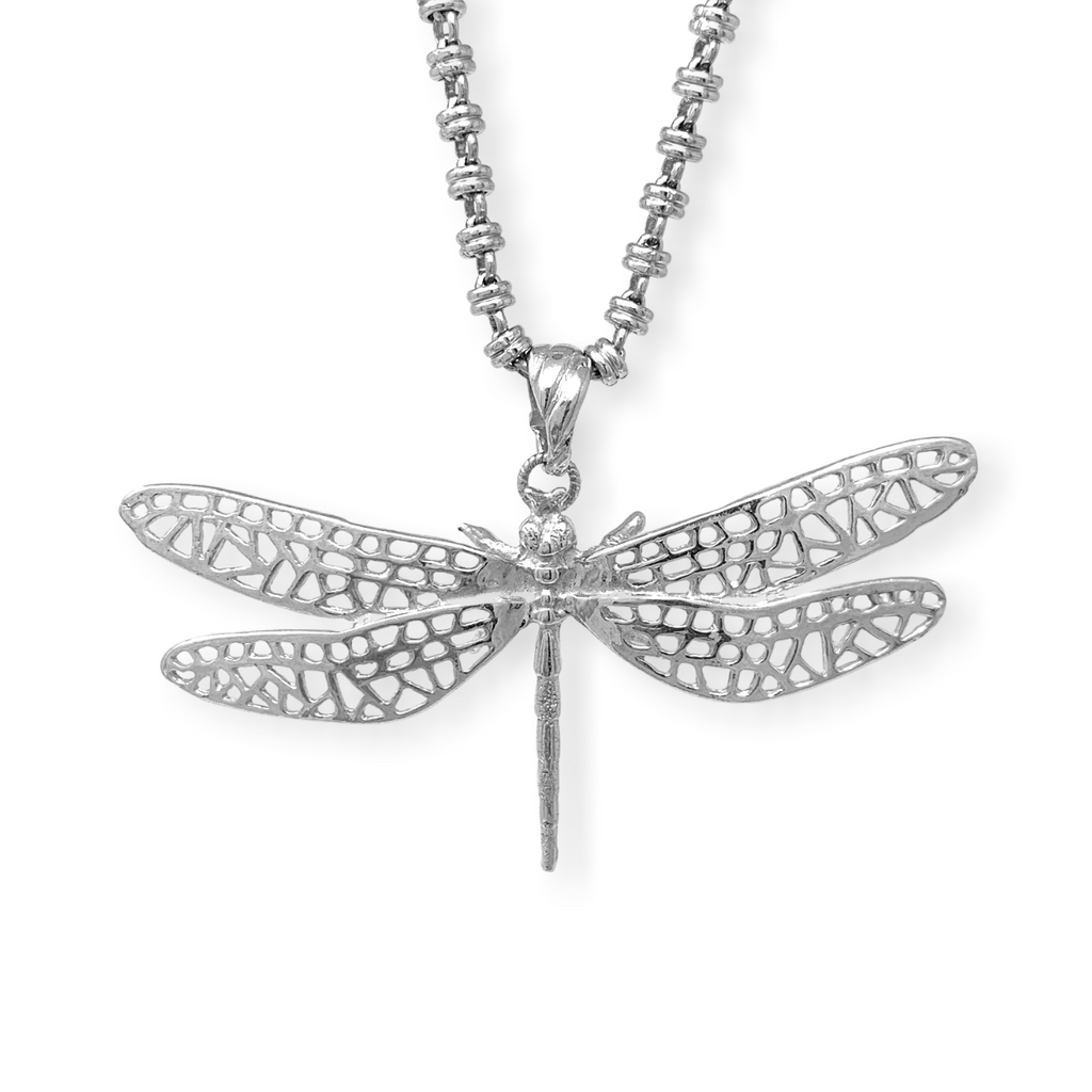 Spread your Wings Dragonfly Pendant (Rhodium)