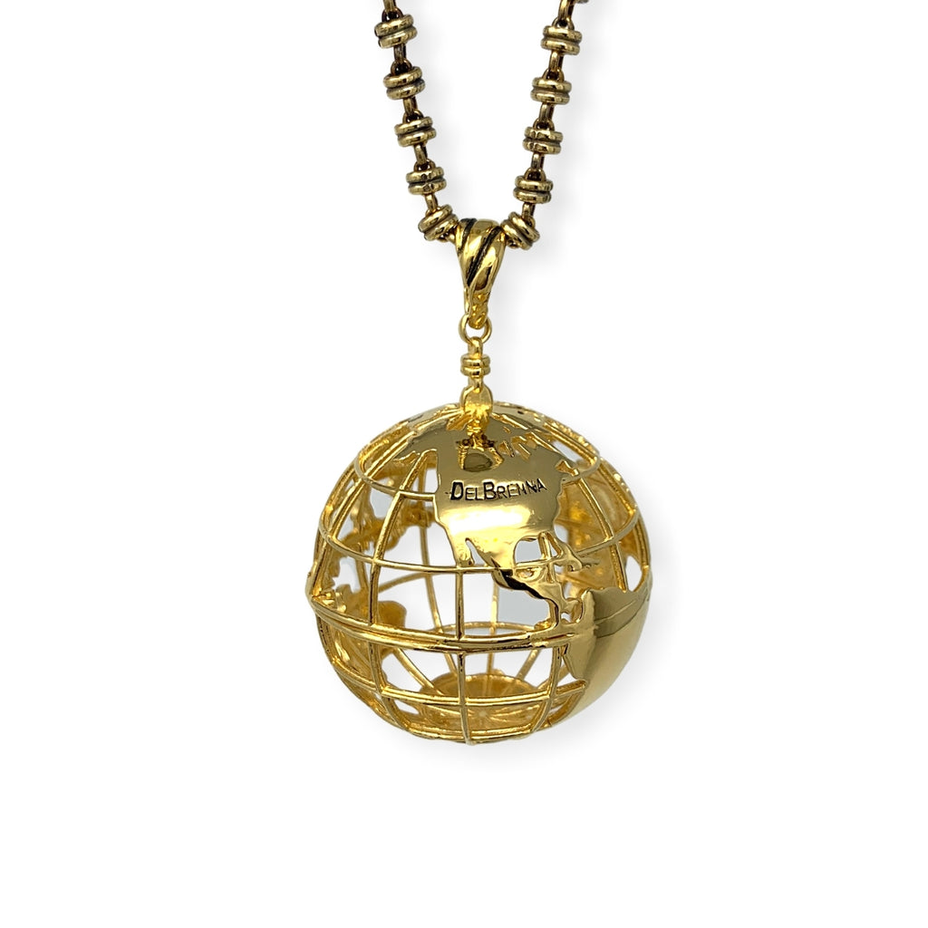 The World is my Oyster Globe Pendant (Antique Gold)