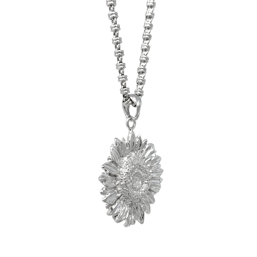 Sculpture Sunflower Pendant Rhodium