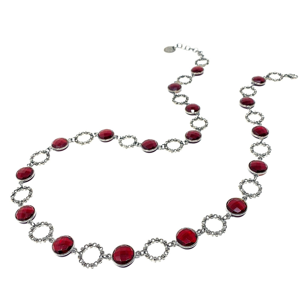 Necklace Botticelli x18 Garnet x17 C Rhodium