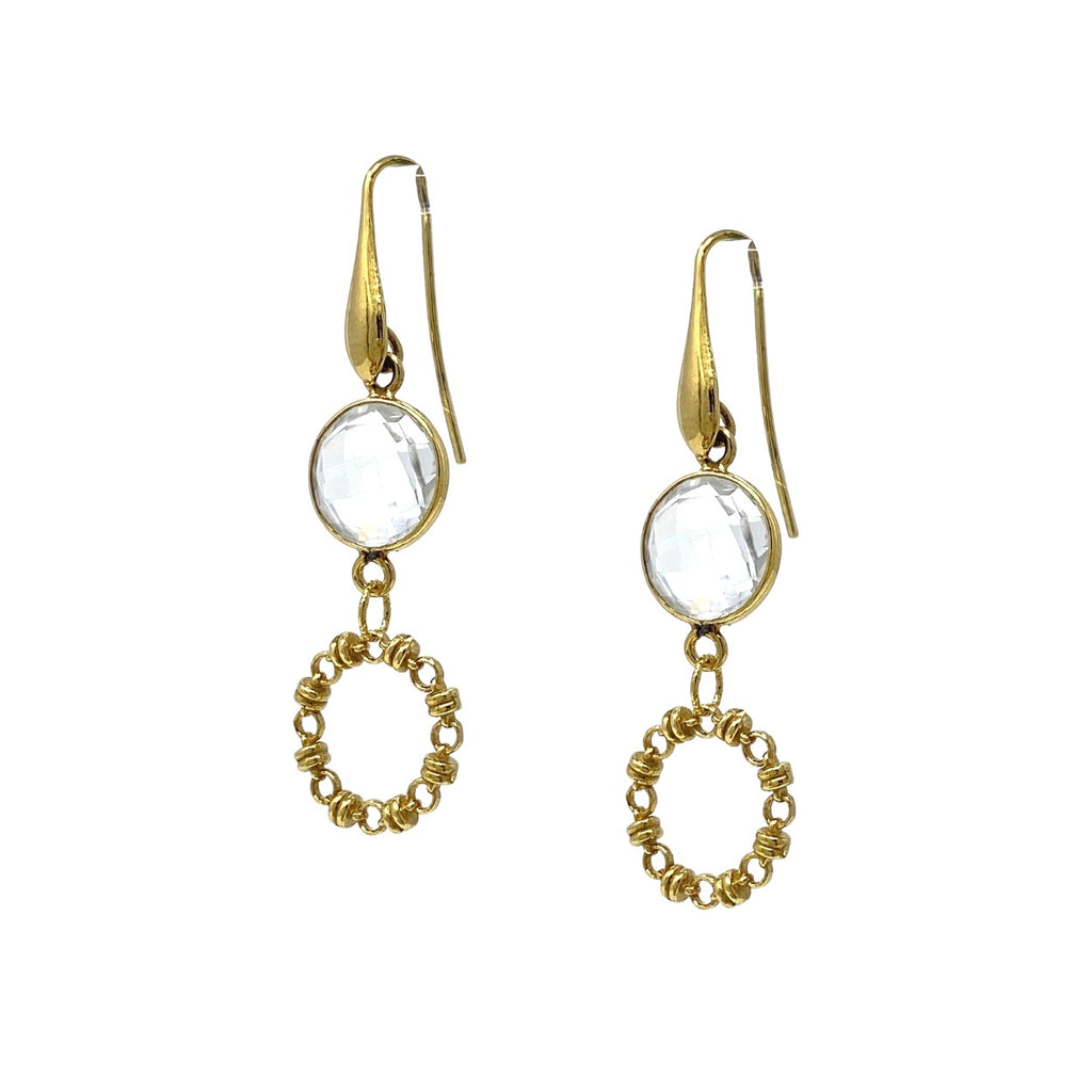 Earrings Botticelli x1 Clear Quartz x1 Antique Gold