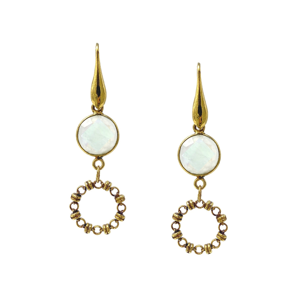 Earrings Botticelli x1 Moonstone x1 Antique Gold