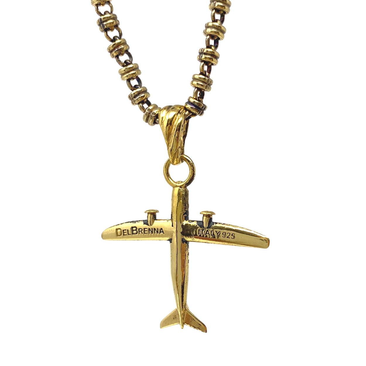 Pendant Small Airplane Antique Gold