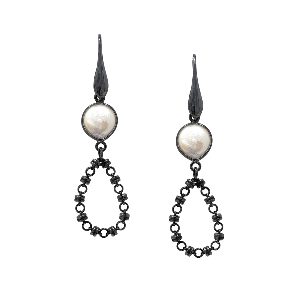 Earrings Botticelli Drops Baroque Pearls Black Rhodium