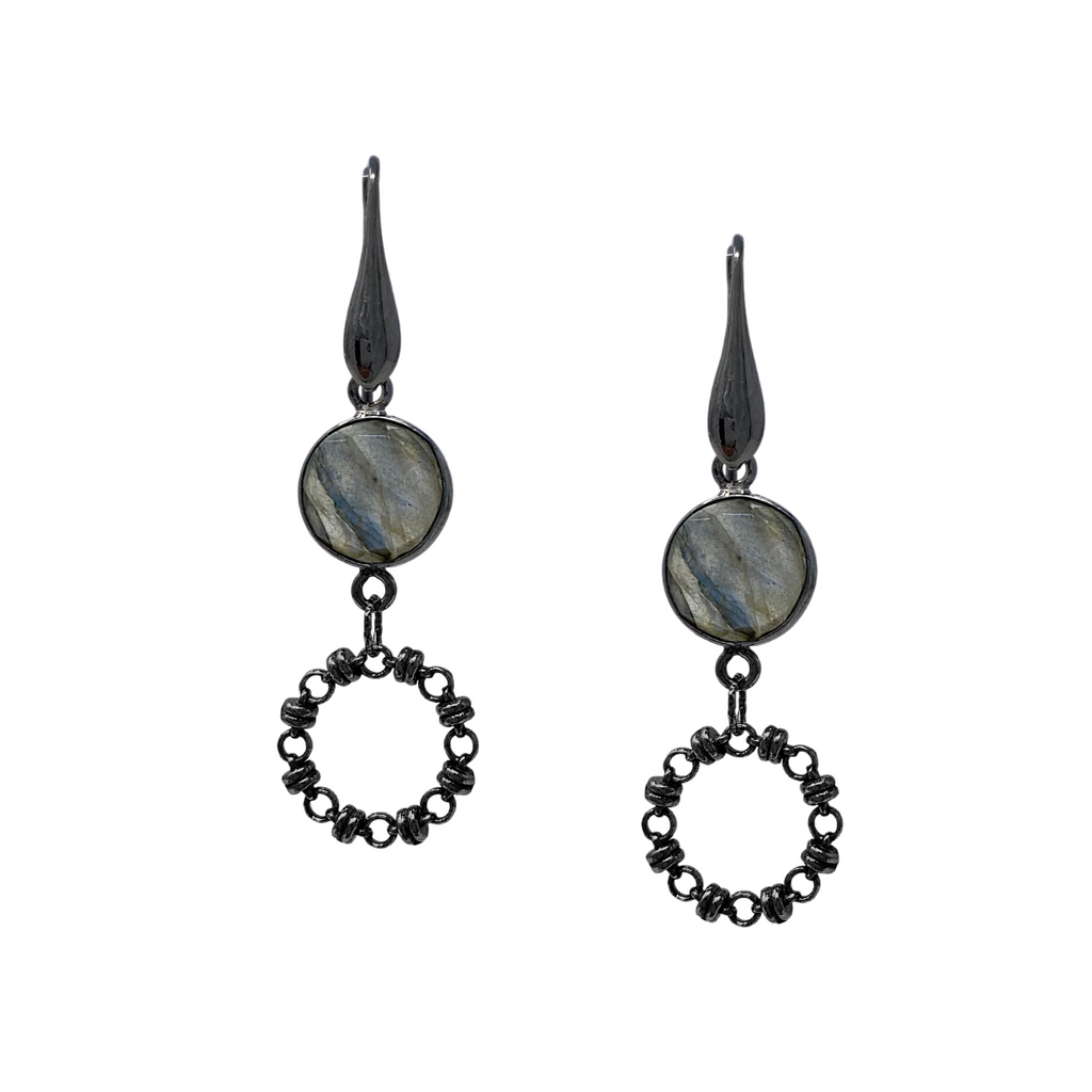 Earrings Botticelli x1 Labradorite x1 Black Rhodium