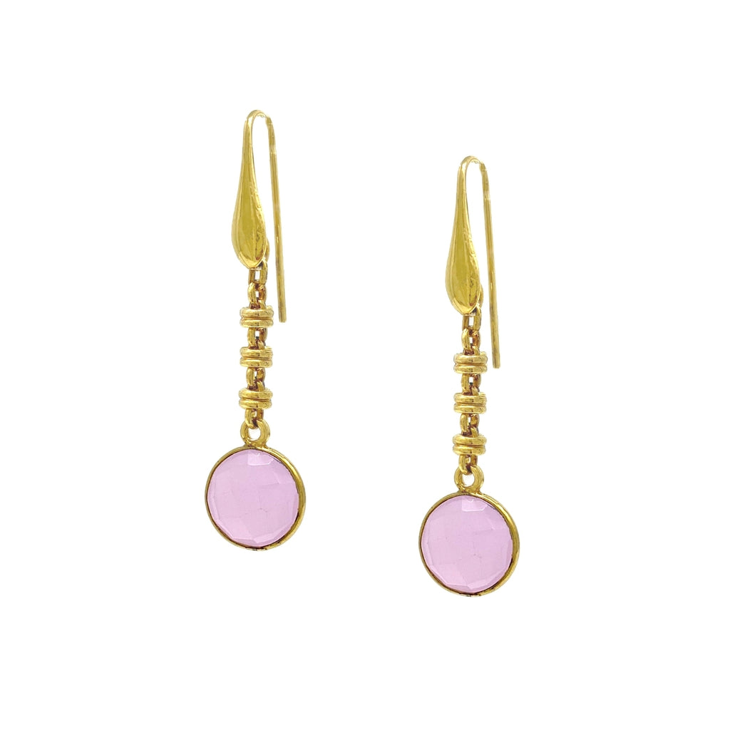 Earrings Chiara Pink Chalcedony Antique Gold