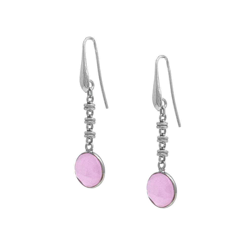 Earrings Chiara Pink Chalcedony Rhodium