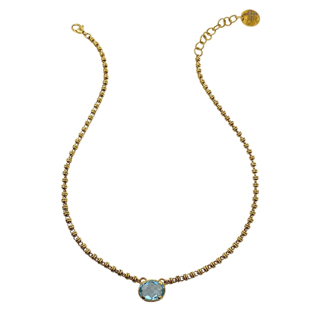 Volare Necklace Blue Topaz Antique Gold