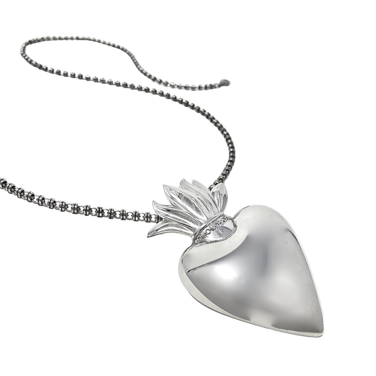 Pendant Flaming Heart Large Rhodium