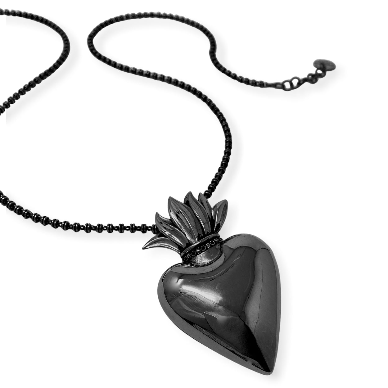 Pendant Flaming Heart Large Black Rhodium