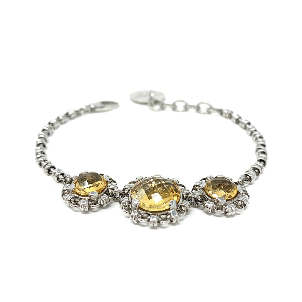 Citrine Triple Filary Bracelet (8mm & 12mm - Rhodium)