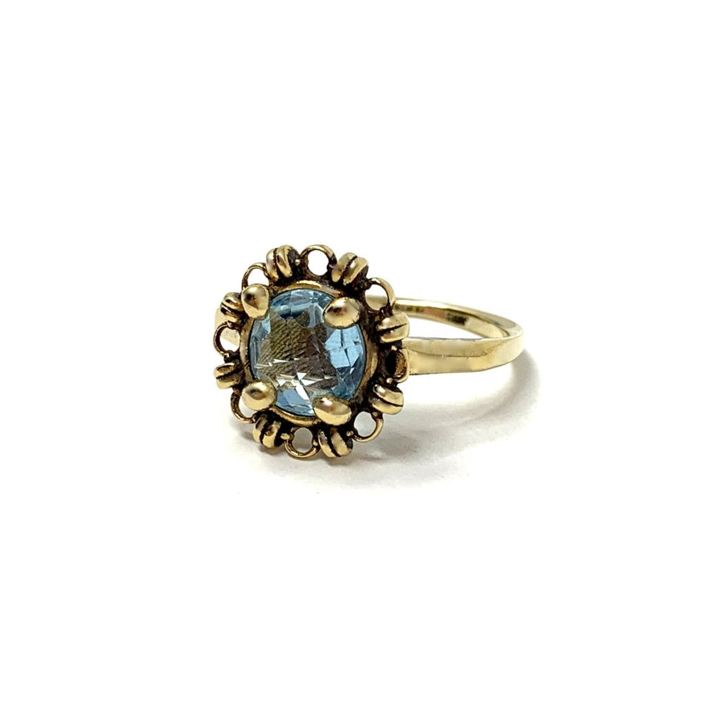 Blue Topaz Filary Ring (8mm Antique Gold)