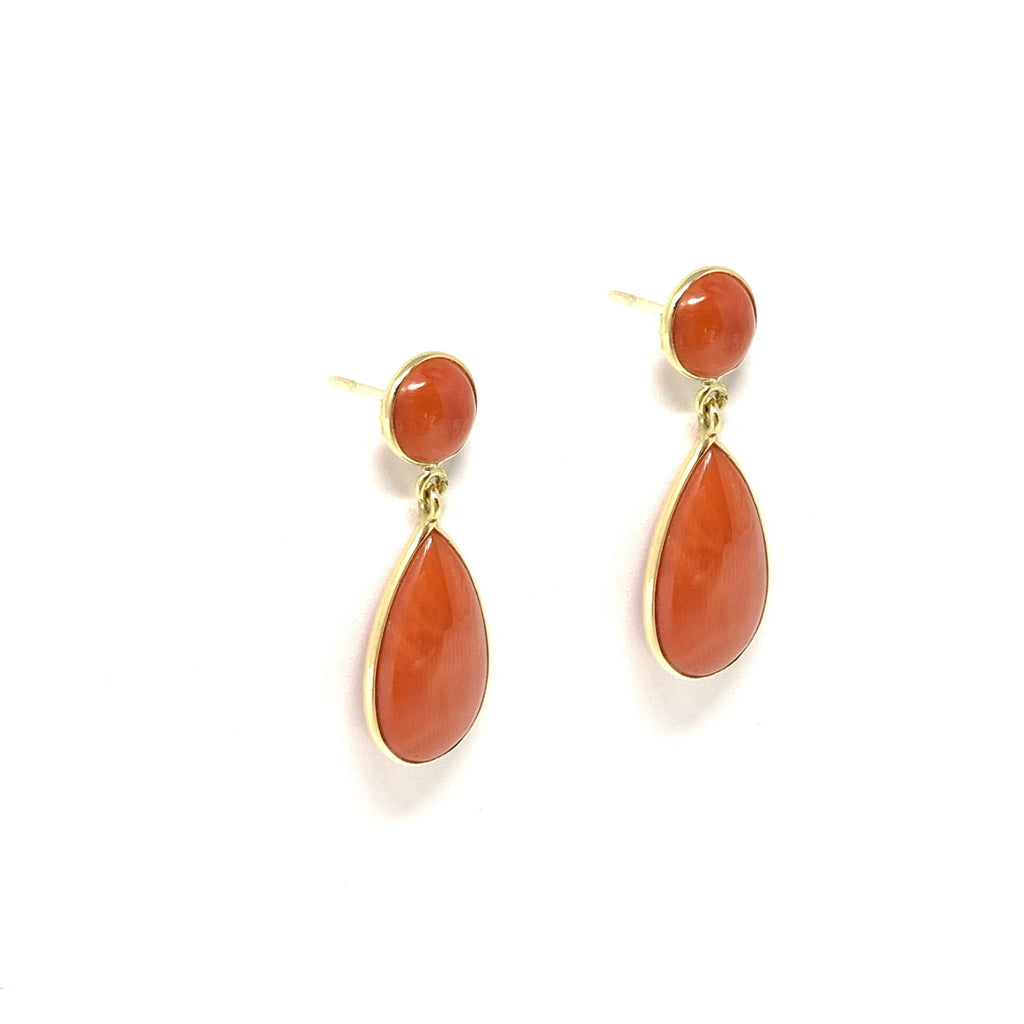 Earrings 18K Yellow Gold Sardinian Coral Drops Double