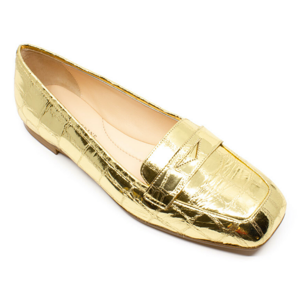 Square Toe Penny Loafer Flats (Golden Cocco Mirror)
