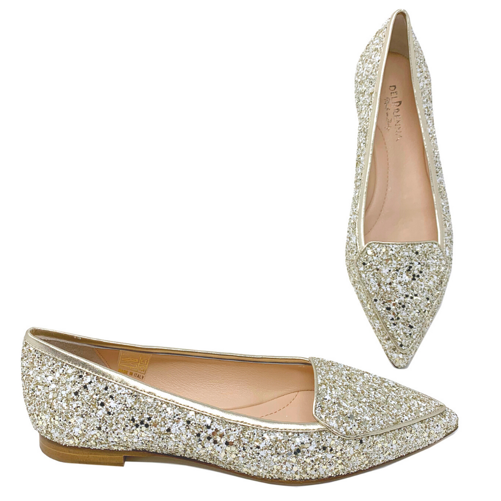 Diva Pointed Toe Glitter Flats (Gold)