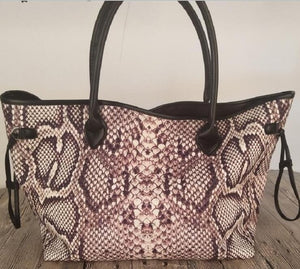 Snakeskin Canvas Large Capacity Tote Bag