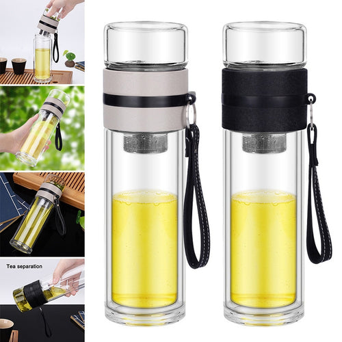 Borosilicate Glass Bottle Tea Infuser Travel Mug