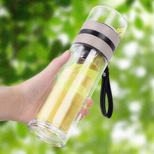 Load image into Gallery viewer, Borosilicate Glass Bottle Tea Infuser Travel Mug with Strainer for Loose Leaf Tea E2S