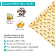 "Load image into Gallery viewer, Eco Friendly Organic Beeswax Reusable Cloth Food Wrap 39"" Roll"