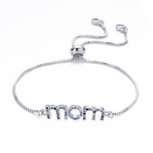 Mom Rainbow Adjustable Box Chain Bracelet