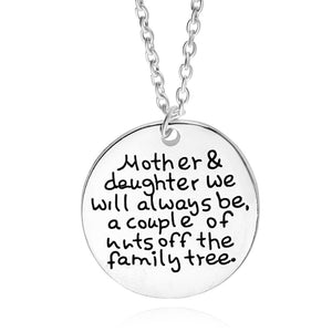 Mother Daughter Round Engraved Disc Pendant Necklace