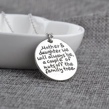 Load image into Gallery viewer, Mother Daughter Round Engraved Disc Pendant Necklace