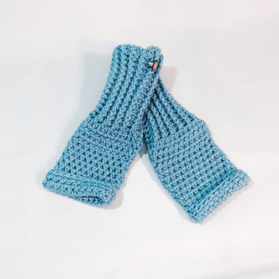 Crochet duck egg mittens
