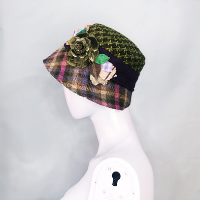 Green wool hat with purple tweed brim