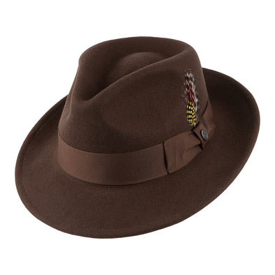 Crushable brown fedora